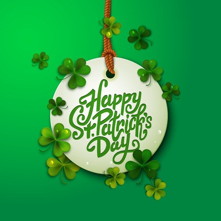 clover backdrop: Happy Saint Patricks day message, brush pen lettering, postcard, illustration, with shamrock leaves