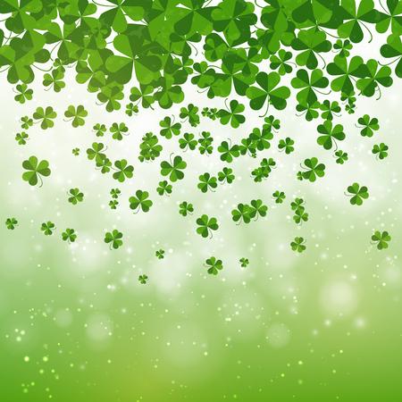 clover backdrop: Happy Saint Patricks day background design, postcard, template, invitation, green shamrock leaves, illustration