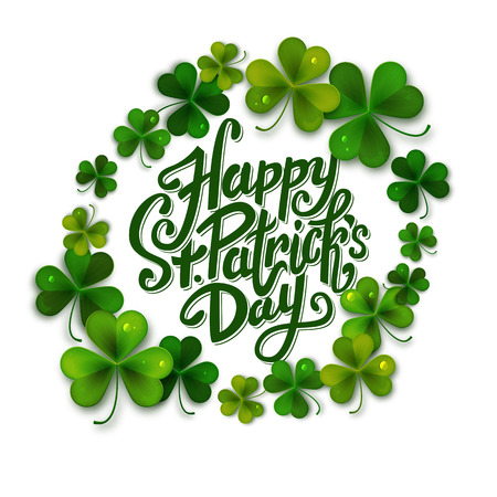 patrick backdrop: Happy Saint Patricks day message, brush pen lettering decorated with shamrock leaves, postcard, illustration