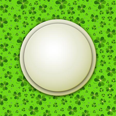 clover backdrop: Saint Patricks Day illustration, round banner on shamrock leaves background
