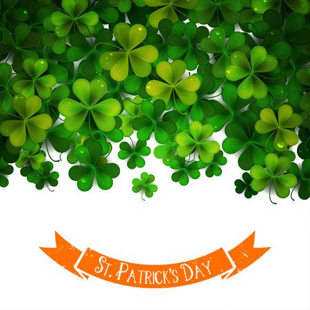 postcard background: Saint Patricks Day background with shamrock leaves, postcard, illustration, invitation
