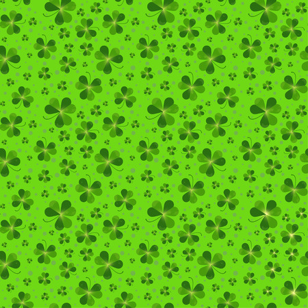 feast of saint patrick: Seamless pattern with Saint Patricks day shamrock leaves