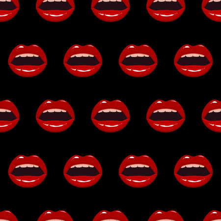 Seamless pattern with red lips Ilustracja