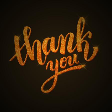 handwritten: Thank you handwritten golden glitter illustration, brush pen lettering on dark background Illustration