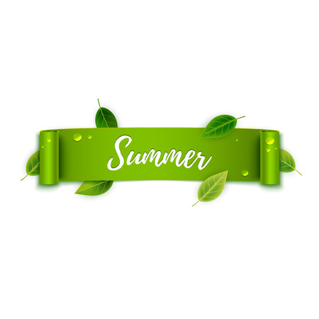 green ribbon: Summer text on green ribbon with leaves, vector illustration