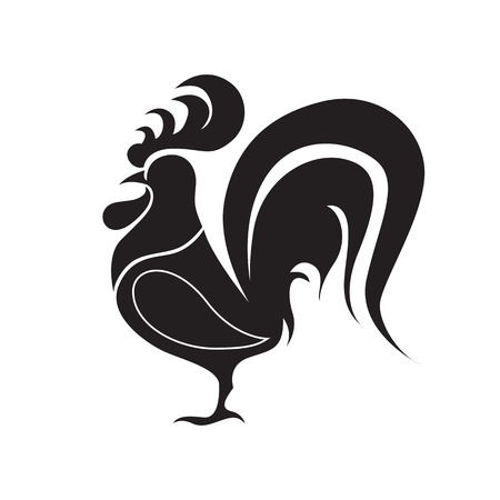 chinese new year card: Rooster logo, cock, bird, New Year 2017, vector illustration design