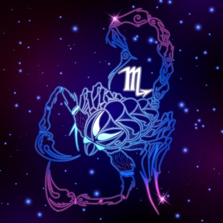 Schorpioen sterrenbeeld, horoscoop symbool, vectorillustratie Stock Illustratie