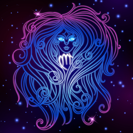 Virgo zodiac sign, horoscope symbol, vector illustration