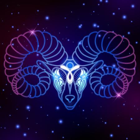 Signo del zodiaco Aries, símbolo del horóscopo, ilustración vectorial
