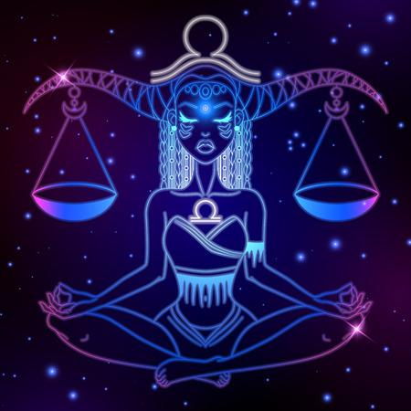 Waage Sternzeichen, Horoskop Symbol, Vektor-Illustration