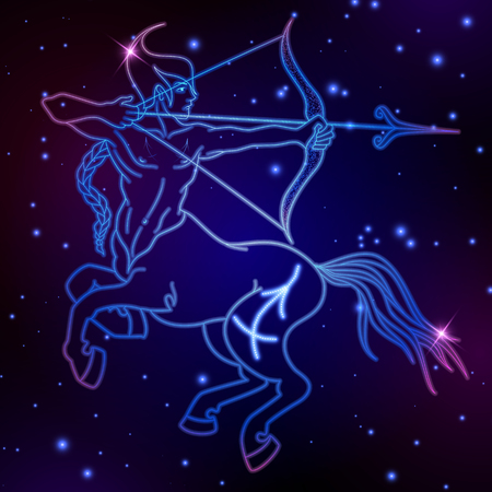Sagittarius zodiac sign, horoscope symbol, vector illustration