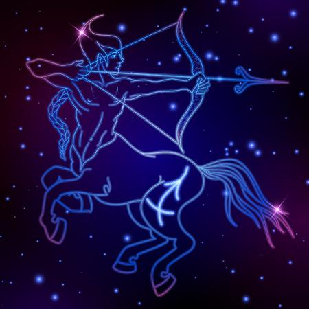 Sagitario signo del zodiaco, símbolo del horóscopo, ilustración vectorial