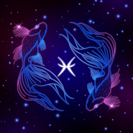 Pisces zodiac sign, horoscope symbol, vector illustration