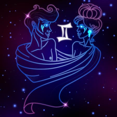 ジェミニ星座、星座シンボル ベクトル イラスト