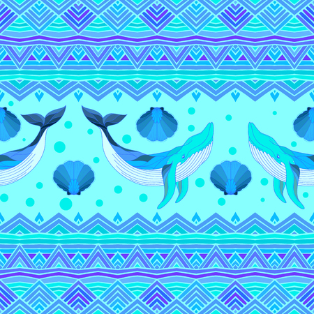 Ethnic vector seamless pattern with whales. Texture for wallpapers, pattern fills, textile design, web page backgrounds Illustration