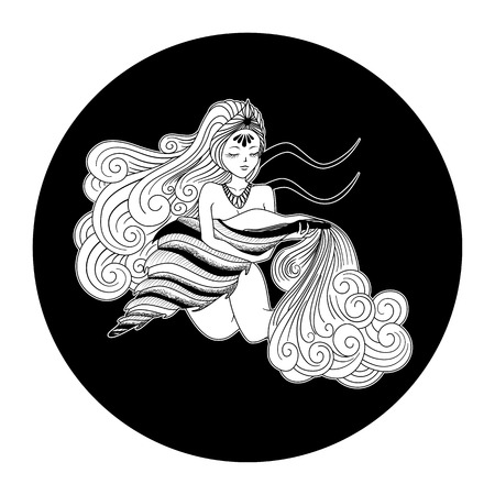 Aquarius zodiac sign, horoscope symbol, vector illustration Illustration