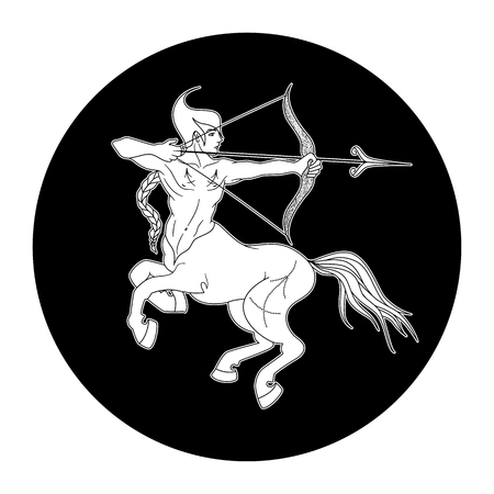 Sagittarius zodiac sign, horoscope symbol, vector illustration