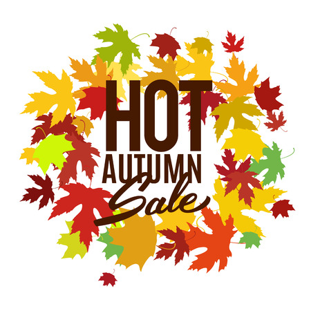Hot autumn sale advertisement banner vector illustration