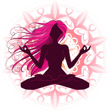 Beautiful woman silhouette meditating, doing yoga, graphic vector illustration design