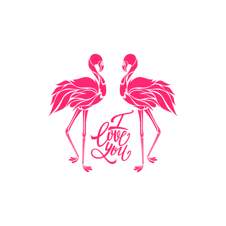 Two pink flamingos in love decorative silhouette vector illustration