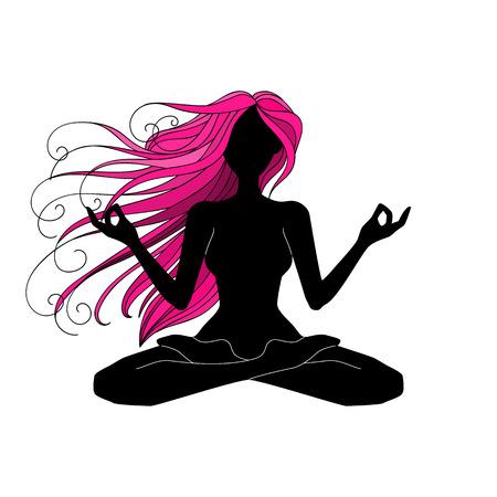 Beautiful woman silhouette meditating, doing yoga, graphic vector illustration design