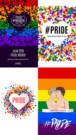 LGBT pride social media story template, gay love celebration, rainbow background, vector illustration