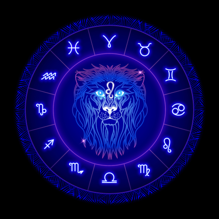 Leo zodiac sign, horoscope symbol. Vector illustration Illustration
