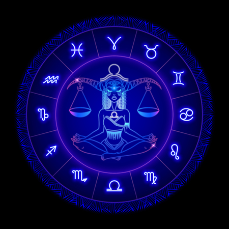 Signo del zodíaco libra, símbolo del horóscopo. Ilustración vectorial