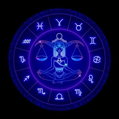 Weegschaal sterrenbeeld, horoscoop symbool. Vector illustratie