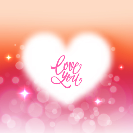 Love you text on romantic card, heart, valentine, unfocused bokeh background. Vector illustration
