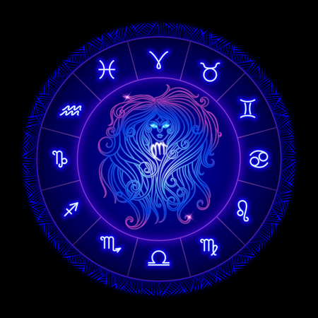 Virgo zodiac sign, horoscope symbol. Vector illustration
