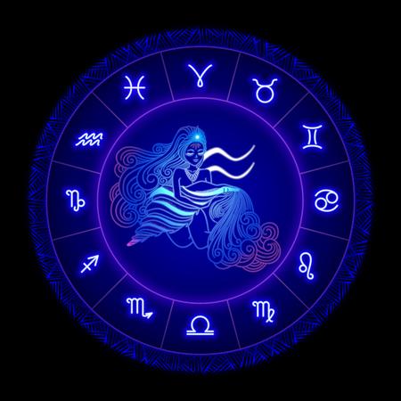 Acuario signo del zodíaco, símbolo del horóscopo. Ilustración vectorial