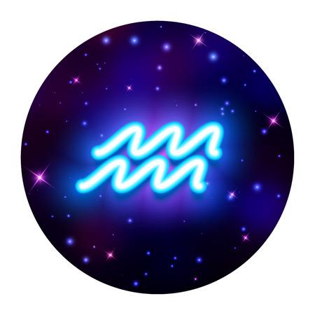 Aquarius zodiac sign, horoscope symbol. Vector illustration