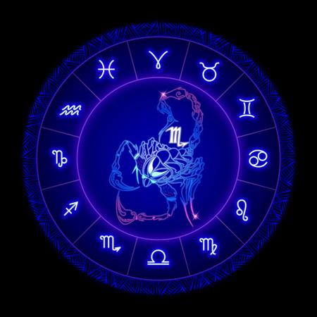 Scorpio zodiac sign, horoscope symbol. Vector illustration
