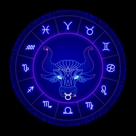Taurus zodiac sign, horoscope symbol. Vector illustration