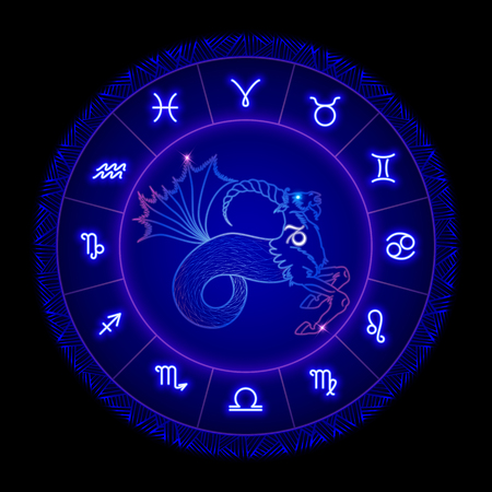 Capricorn zodiac sign, horoscope symbol. Vector illustration