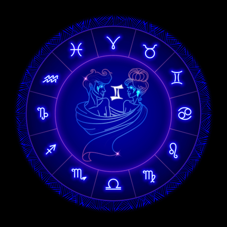 Gemini zodiac sign, horoscope symbol. Vector illustration