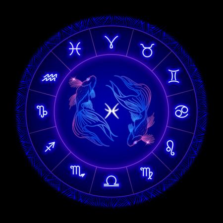 Signo del zodíaco Piscis, símbolo del horóscopo. Ilustración vectorial Ilustración de vector