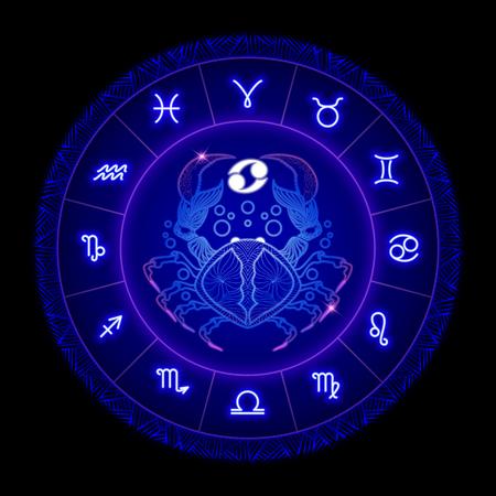 Cancer zodiac sign, horoscope symbol. Vector illustration