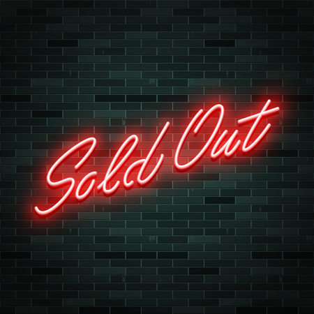 Sold out neon glowing text. Vector illustration