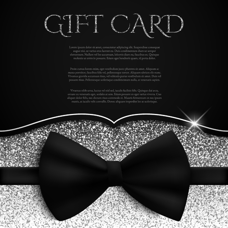 Silver gift card with glitter and bow tie, gift, voucher, certificate. Vector illustration Иллюстрация