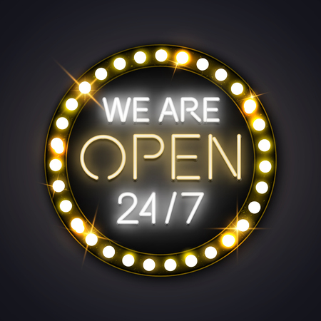 We are open 24/7 neon glowing sign. Vector illustration Illustration