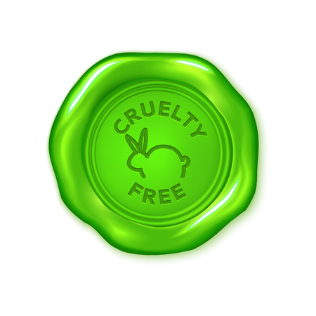 Vector green wax seal isolated on white, not tested on animals, cruelty free, vegan product Illustration