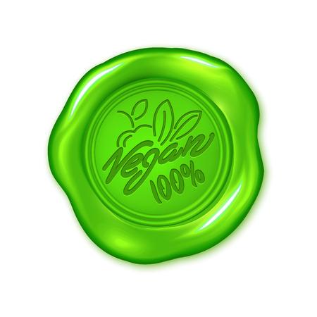 Sceau de cire verte de vecteur isolé sur blanc, produit végétalien