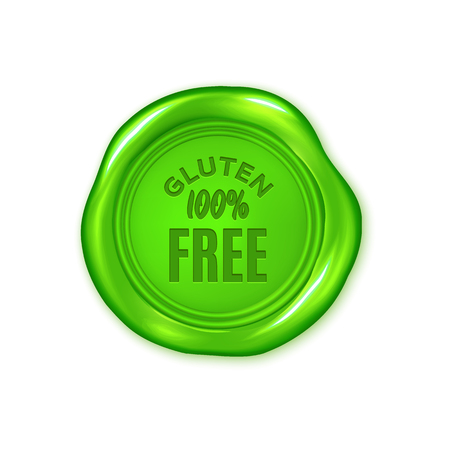 Vector green wax seal isolated on white, gluten free, vegan product