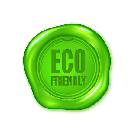 Vector green wax seal isolated on white, eco friendly, vegan product