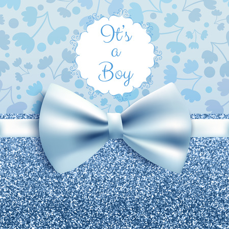 It's a boy baby shower cute card invitation with blue bow, vector illustration Çizim