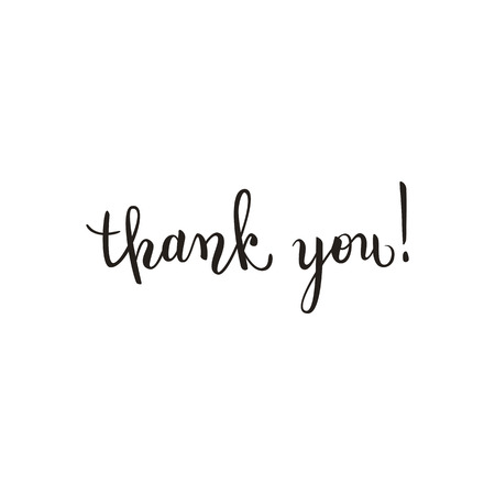 Thank you brush pen lettering, handwritten vector illustration, dark text isolated on white background