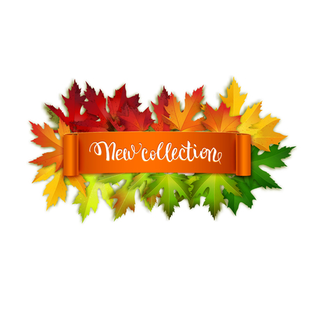 New autumn collection advertisement, brush pen handwritten text lettering on red leaves background, season arrival, vector illustration