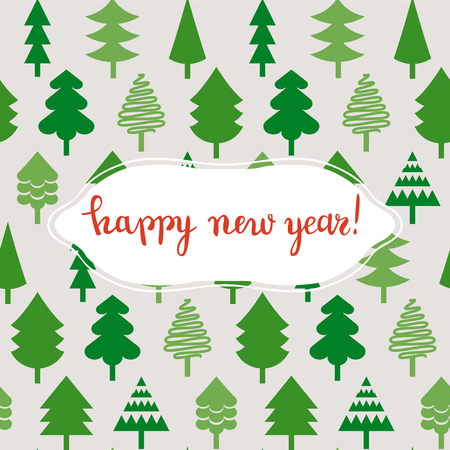 Happy New Year cute postcard with Christmas trees, vector illustration